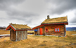 Grass roofed cabins in Norway