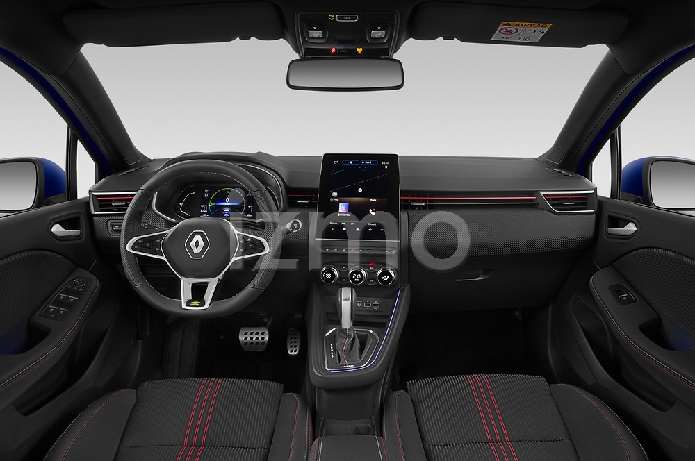 Stock photo of straight dashboard view of 2020 Renault Clio-e-Tech RS-Line 5 Door Hatchback Dashboard
