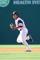 Shortstop Tzu-Wei Lin (36) of the Greenville Drive goes after a grounder in a game against the West Virginia Power on Sunday, May 11, 2014, at Fluor Field at the West End in Greenville, South Carolina. Lin is the No. 28 prospect of the Boston Red Sox, according to Baseball America. Greenville won, 9-6. (Tom Priddy/Four Seam Images)