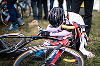 Clea Seidel (GER) post race exhausted<br /> <br /> Women's Junior race<br /> UCI 2020 Cyclocross World Championships<br /> Dübendorf / Switzerland<br /> <br /> ©kramon