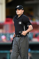Home plate umpire Jansen Visconti during a game between the Akron RubberDucks and Erie SeaWolves on May 17, 2014 at Jerry Uht Park in Erie, Pennsylvania.  Erie defeated Akron 2-1.  (Mike Janes/Four Seam Images)