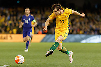 June 7, 2016: ROBBIE KRUSE (10) of Australia kicks the ball during an international friendly match between the Australian Socceroos and Greece at Etihad Stadium, Melbourne. Photo Sydney Low