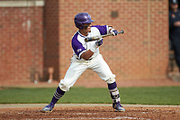 Travis Holt (8) of the High Point Panthers squares to bunt against the Campbell Camels at Williard Stadium on March 16, 2019 in  Winston-Salem, North Carolina. The Camels defeated the Panthers 13-8. (Brian Westerholt/Four Seam Images)