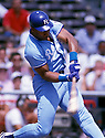 Kansas City Royals Bo Jackson (16)  in action during a game from 1989 season with the Kansas City Royals . Bo Jackson played for 8 years with 3 different teams.