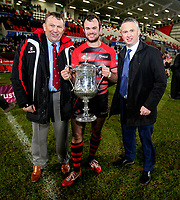 Friday 8th February 2019 | First Trust Ulster Senior Cup Final<br /> <br /> Ulster Branch Senior Vice President Gary Leslie, Armagh captain Christopher Colvin and James Beattie representing the First Trust Bank after the First Trust Ulster Senior Cup Final between Armagh and Ballymena at Kingspan Stadium, Ravenhill Park, Belfast, Northern Ireland. Photo by John Dickson / DICKSONDIGITAL