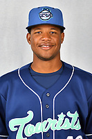 Asheville Tourists pitcher Alexander Martinez (28) during media day at McCormick Field on April 2, 2019 in Asheville, North Carolina. (Tony Farlow/Four Seam Images)
