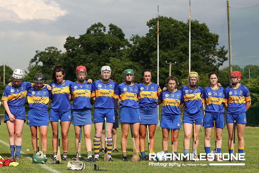 Tipperary Players stand for the national anthem ahead of the Liberty Insurance All Ireland Senior Camogie Championship Round 1 between Tipperary and Meath at the Ragg, Co Tipperary. Photo By Michael P Ryan.