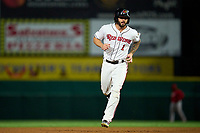 Rochester Red Wings Blake Swihart (1) rounds the bases after hitting a home run during a game against the Worcester Red Sox on September 3, 2021 at Frontier Field in Rochester, New York.  (Mike Janes/Four Seam Images)