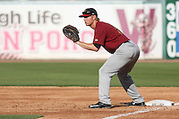 Quad Cities River Bandits first baseman Ryan Bottger (9) waits for a throw during a Midwest League game against the Wisconsin Timber Rattlers on July 17th, 2015 at Fox Cities Stadium in Appleton, Wisconsin. Quad Cities defeated Wisconsin 4-2. (Brad Krause/Four Seam Images)