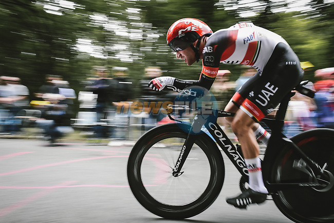 Marc Hirschi (SUI) UAE Team Emirates in action during Stage 5 of the 2021 Tour de France, an individual time trial running 27.2km from Change to Laval, France. 30th June 2021.  <br /> Picture: A.S.O./Pauline Ballet | Cyclefile<br /> <br /> All photos usage must carry mandatory copyright credit (© Cyclefile | A.S.O./Pauline Ballet)