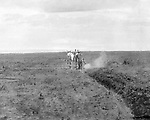 Jerome ID:  Plowing the farmland on the 160-acre homestead.  Brady Stewart and three friends went to Idaho on a lark from 1909 thru early 1912. As part of the Mondell Homestead Act, they received a land grant of 160 acres north of the Snake River.  For 2 ½  years, Brady Stewart photographed the adventures of farming along with the spectacular landscapes.