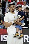 Real Madrid's Ioannis Bourousis celebrates with his son the victory in the Euroleague Final Match. May 15,2015. (ALTERPHOTOS/Acero)