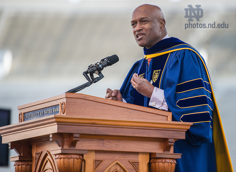 May 18, 2014; Ray Hammond gives the Commencement address at the 2014 Commencement ceremony in Notre Dame Stadium. Photo by Matt Cashore/University of Notre Dame