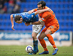 St Johnstone v Kilmarnock.....28.02.15<br /> Chris Kane is held by Manuel Pascali<br /> Picture by Graeme Hart.<br /> Copyright Perthshire Picture Agency<br /> Tel: 01738 623350  Mobile: 07990 594431