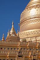 Myanmar, Burma, Shwezegon (Shwezigon) Pagoda, near Bagan.