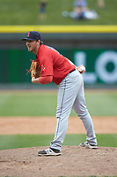 Salem Red Sox relief pitcher Matthew Gorst (31) looks to his catcher for the sign against the Winston-Salem Dash at BB&T Ballpark on April 22, 2018 in Winston-Salem, North Carolina.  The Red Sox defeated the Dash 6-4 in 10 innings.  (Brian Westerholt/Four Seam Images)