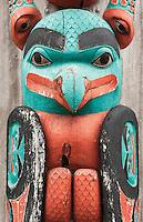 Totem pole detail, Hoonah, Alaska, USA.