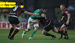 Rabo Direct Pro 12.Mick Kearney crashes into Phil Price..Newport Gwent Dragons v Connacht.30.03.12.©Steve Pope