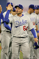 March 7, 2009:  Catcher Francisco Cervelli (64) of Italy during the first round of the World Baseball Classic at the Rogers Centre in Toronto, Ontario, Canada.  Venezuela defeated Italy 7-0 in both teams opening game of the tournament.  Photo by:  Mike Janes/Four Seam Images