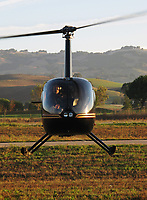 Robinson R44 Clipper helicopter N29WN piloted by Tim Donahoe at the Petaluma Municipal Airport, Petaluma, Sonoma County, California