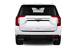 Straight rear view of 2021 GMC Yukon-XL Denali 5 Door SUV Rear View  stock images