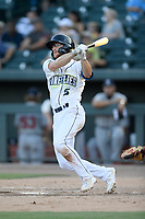 Left fielder Chandler Avant (5) of the Columbia Fireflies bats in a game against the Rome Braves on Saturday, August 17, 2019, at Segra Park in Columbia, South Carolina. Rome won, 4-0. (Tom Priddy/Four Seam Images)
