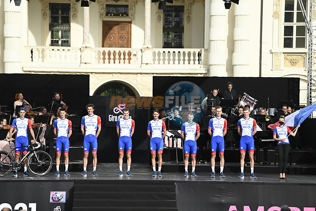 Groupama-FDJ on stage at team presentation of the 2021 Giro d'Italia inside the Cortile d'Onore of the Castello del Valentino, on the occasion of the 160th anniversary of the Unification of Italy, Turin, Italy. 6th May 2021.  <br /> Picture: LaPresse/Fabio Ferrari | Cyclefile<br /> <br /> All photos usage must carry mandatory copyright credit (© Cyclefile | LaPresse/Fabio Ferrari)