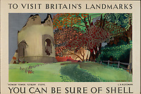 BNPS.co.uk (01202 558833)<br /> Pic: Lyon&Turnbull/BNPS<br /> <br /> Pictured: The Roman Tower in Tutbury made for a colourful poster <br /> <br /> A vast collection of vintage Shell posters have sold at auction for almost £60,000.<br /> <br /> The group of 49 sheets were sold directly from the oil giant's archives and featured some incredibly rare designs from down the years.<br /> <br /> All of the posters had previously been used in Shell advertising campaigns, dating back to between the 1920s and 1950s.<br /> <br /> Many of the colourful designed featured the slogan 'You can be sure of Shell' and list people who preferred their fuel.