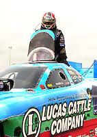 May 1, 2011; Baytown, TX, USA: NHRA funny car driver Brian Thiel during the Spring Nationals at Royal Purple Raceway. Mandatory Credit: Mark J. Rebilas-