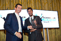 December 08, 2014, Amsterdam, Amstel Hotel, Tennisser off the Year Awards,  Robin Haase receives  the Richard Krajicek trophy out of the hands of Richard Krajicek.<br /> Photo: Henk Koster