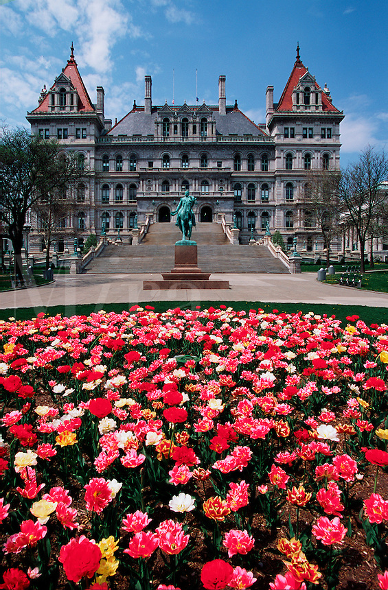 New York State Capitol with flowers in foreground, Albany, New York