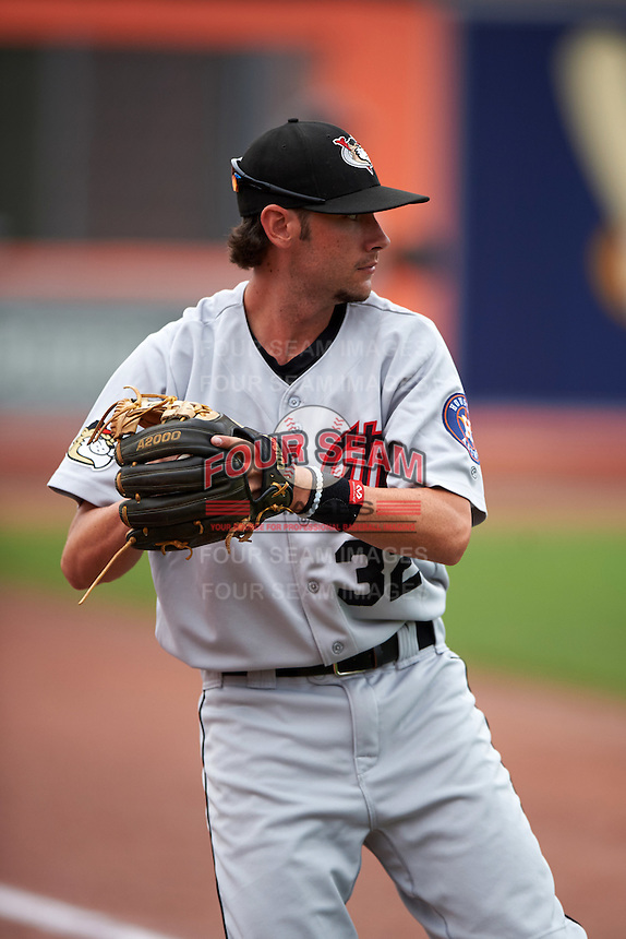 Tri-City ValleyCats Keach Ballard (32) warms up before a game against the Aberdeen Ironbirds on August 6, 2015 at Ripken Stadium in Aberdeen, Maryland.  Tri-City defeated Aberdeen 5-0 in a combined no-hitter.  (Mike Janes/Four Seam Images)
