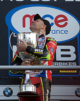 Shane Byrne of Be Wiser Ducati Racing Team looks skywards with the trophy after winning the MCE British Superbikes in Association with Pirelli round championship 2017 - BRANDS HATCH (GP) at Brands Hatch, Longfield, England on 15 October 2017. Photo by Alan  Stanford / PRiME Media Images.