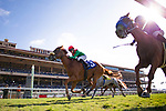 DEL MAR,CA-AUGUST 16: Responsibleforlove,ridden by Joseph Talamo (red cap), wins the CTT and TOC Handicap at Del Mar Race Track on August 16,2017 in Del Mar,California (Photo by Kaz Ishida/Eclipse Sportswire/Getty Images)