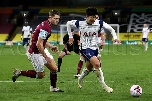 26th October 2020, Turf Moor, Burnley UK; EPL Premier League football, Burnley v Tottenham Hotspur; Tottenham Hotspur forward Son Heung-Min (7) bursts through on goal as he goes past the Burnley defense to score for 0-1