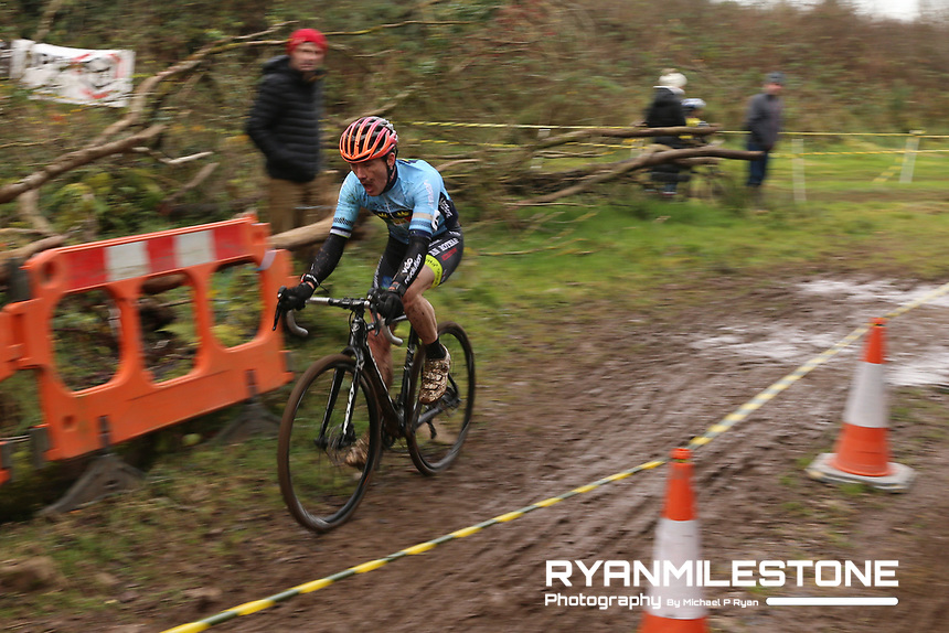 EVENT:<br /> Round 5 of the 2019 Munster CX League<br /> Drombane Cross<br /> Sunday 1st December 2019,<br /> Drombane, Co Tipperary<br /> <br /> CAPTION:<br /> Patrick Clifford of STRATAA3/Velo Revolution Racing Team in action during the A Race - M40<br /> <br /> Photo By: Michael P Ryan