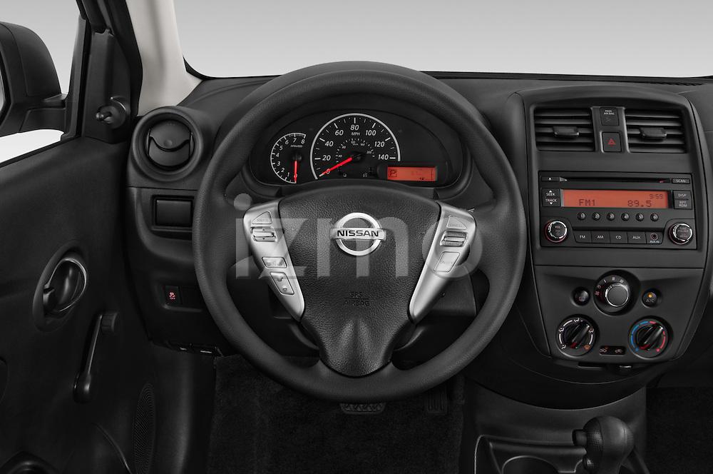 Car pictures of steering wheel view of a2015 Nissan Versa 1.6 SV CVT 4 Door Sedan Steering Wheel