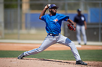 Toronto Blue Jays pitcher Yennsy Diaz (13) delivers a pitch during a minor league Spring Training game against the New York Yankees on March 30, 2017 at the Englebert Complex in Dunedin, Florida.  (Mike Janes/Four Seam Images)