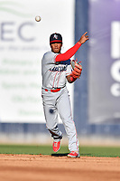 Lakewood BlueClaws shortstop Luis Garcia (3) throws to first base during a game against the Asheville Tourists at McCormick Field on June 13, 2019 in Asheville, North Carolina. The BlueClaws defeated the Tourists 4-3. (Tony Farlow/Four Seam Images)