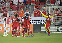 18 July 2012: The Toronto FC players celebrate the win at the end of an MLS game between the Colorado Rapids and Toronto FC at BMO Field in Toronto..Toronto FC won 2-1..