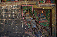 Temple with old carvings in wood at Bungamati Village Kathmandu Valley, Nepal