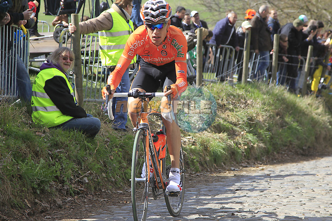 The tail end of the peloton including Ricardo Garcia Ambroa (ESP) Euskaltel-Euskadi climbs Koppenberg during the 96th edition of The Tour of Flanders 2012, running 256.9km from Bruges to Oudenaarde, Belgium. 1st April 2012. <br /> (Photo by Eoin Clarke/NEWSFILE).