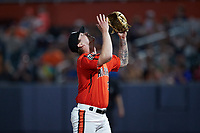Aberdeen IronBirds relief pitcher Logan Gillaspie (39) looks to the sky after getting the final out in the game against the Hudson Valley Renegades at Leidos Field at Ripken Stadium on July 23, 2021, in Aberdeen, MD. (Brian Westerholt/Four Seam Images)