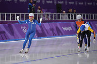 OLYMPIC GAMES: PYEONGCHANG: 24-02-2018, Gangneung Oval, Long Track, Mass Start Men, Olympic champion Lee Seung-Hoon (KOR), Bart Swings (BEL), Koen Verweij (NED), ©photo Martin de Jong