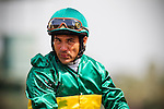 Arcadia CA- April 06:  Corey Nakatani after winning the 2013 running of the Thunder Road Stakes aboard Battle Force at Santa Anita Park in Arcadia, CA on April 6, 2013. (Alex Evers/ Eclipse Sportswire)