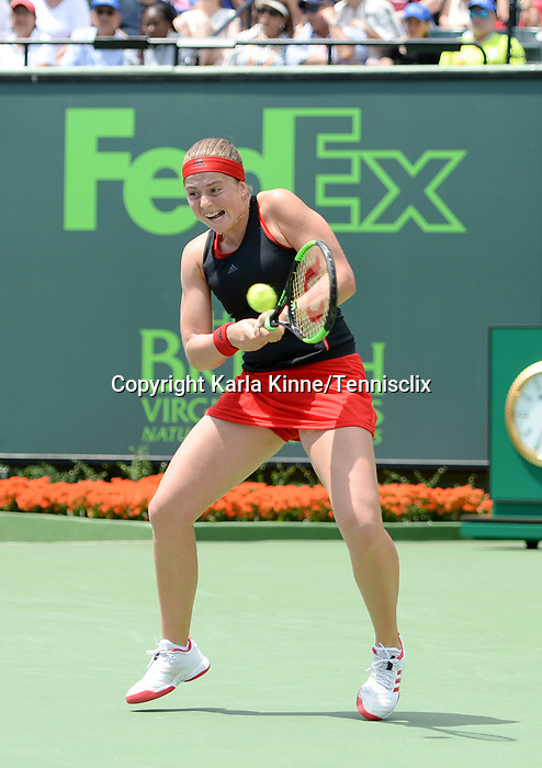 March 31 2018: Jelena Ostapenko (LAT) loses to Sloane Stephens (USA) 6-7 (5), 1-6, at the Miami Open being played at Crandon Park Tennis Center in Miami, Key Biscayne, Florida. ©Karla Kinne/Tennisclix/CSM