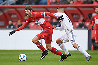 Bridgeview, IL - Saturday April 14, 2018: Elliot Collier, Sebastian Lletget during a regular season Major League Soccer (MLS) match between the Chicago Fire and the LA Galaxy at Toyota Park.  The LA Galaxy defeated the Chicago Fire by the score of 1-0.