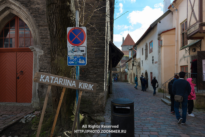 Historic street Katarina Kirik in Tallinn old town district