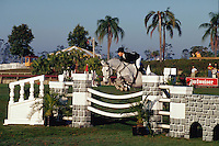 Rider jumps over fence, Winter Equestrian Festival, Wellington, Palm Beach, Florida
