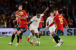 Spain's Saul Niguez (L) and Sergio Ramos (R) and England's Raheem Sterling during UEFA Nations League 2019 match between Spain and England at Benito Villamarin stadium in Sevilla, Spain. October 15, 2018. (ALTERPHOTOS/A. Perez Meca)